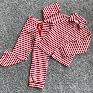 Gap Kids 2 piece striped fleece pajamas size 5